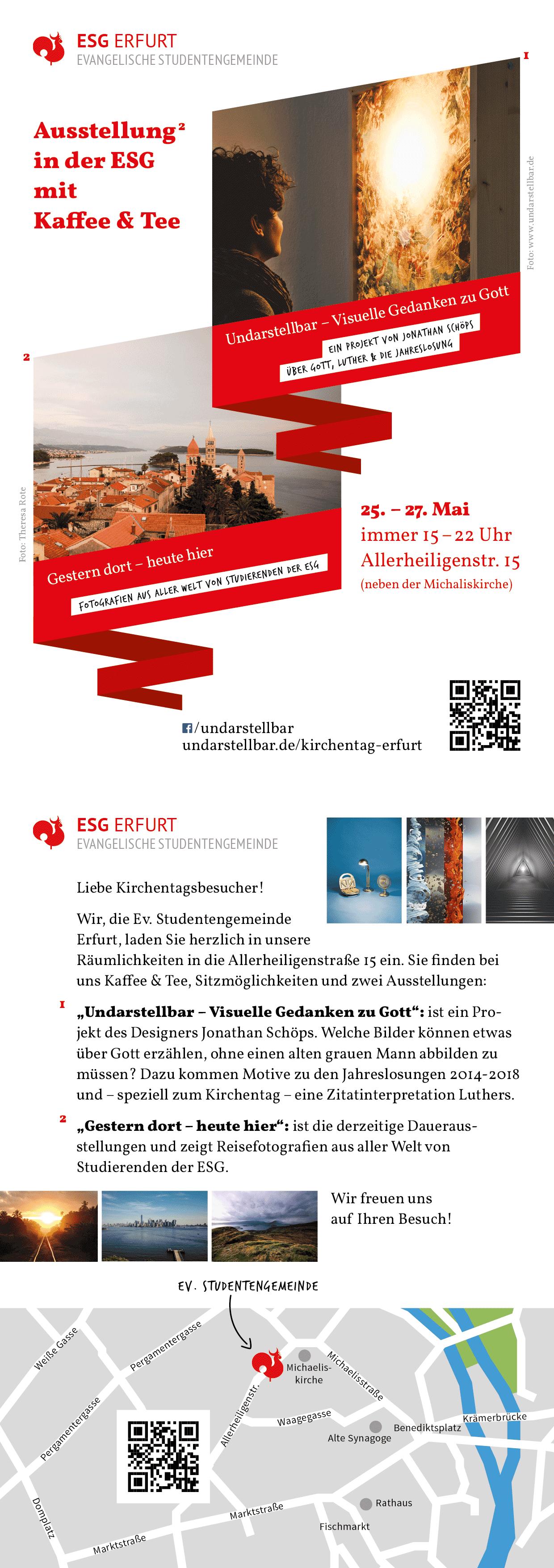 Kirchentag Ausstellung Undarstellbar ESG Erfurt Flyer