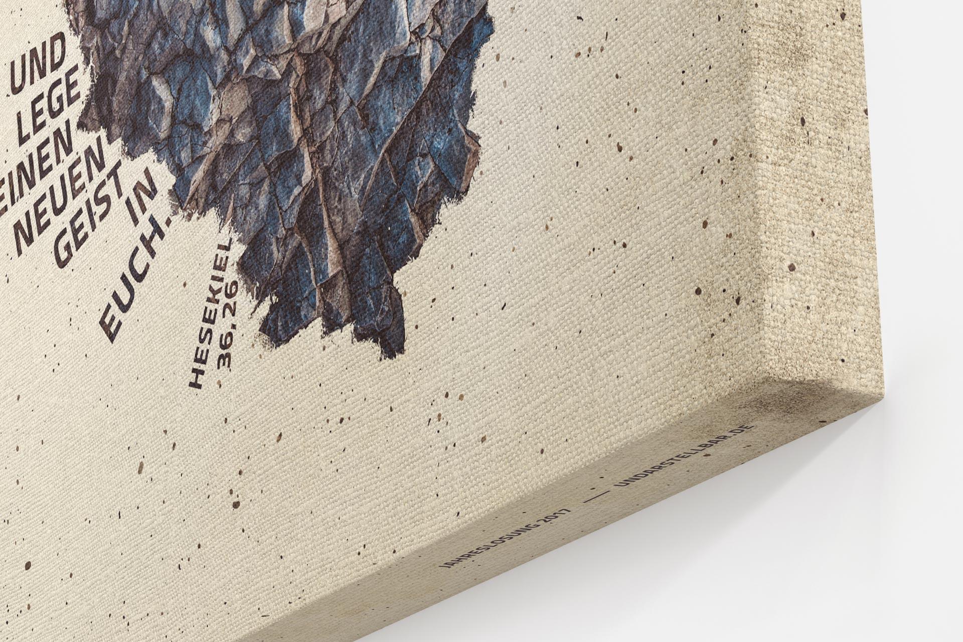 Jahreslosung 2017 Closeup Leinwand Ecke undarstellbar