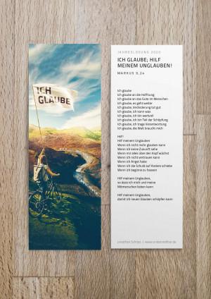 Jahreslosung 2020 als Lesezeichen mit Gedicht / Gebet / Auslegung von undarstellbar.de
