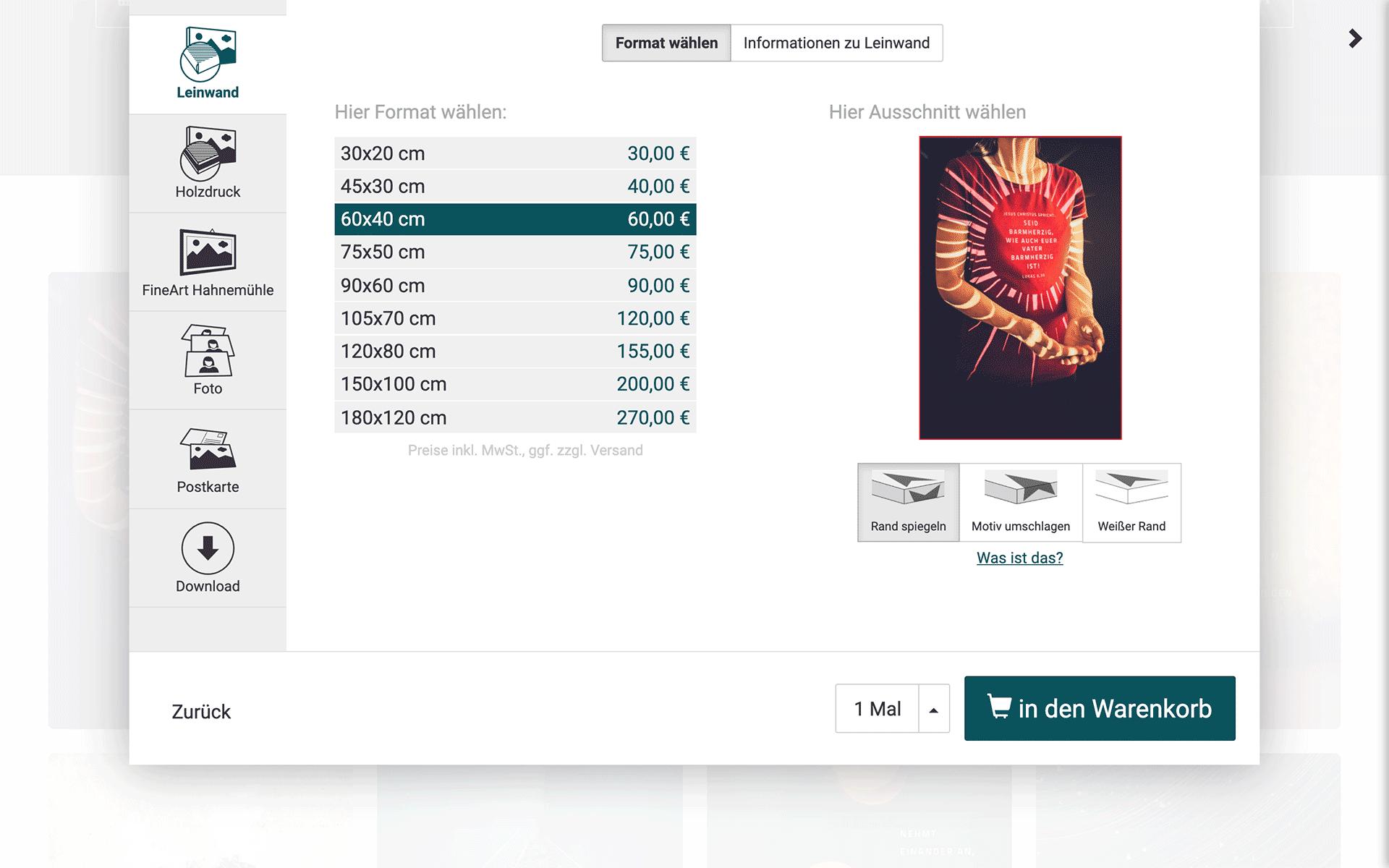 undarstellbar.com Shop Leinwände von 20x30 bis 120x180