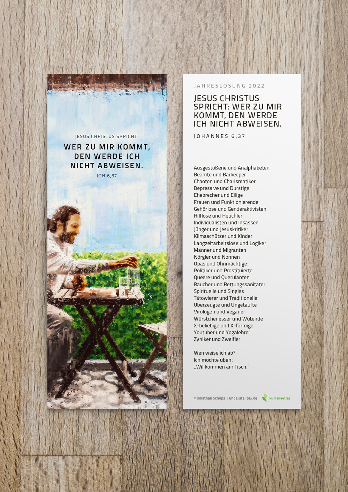 Jahreslosung 2022 Lesezeichen mit Text, Auslegung, Gedicht auf der Rückseite