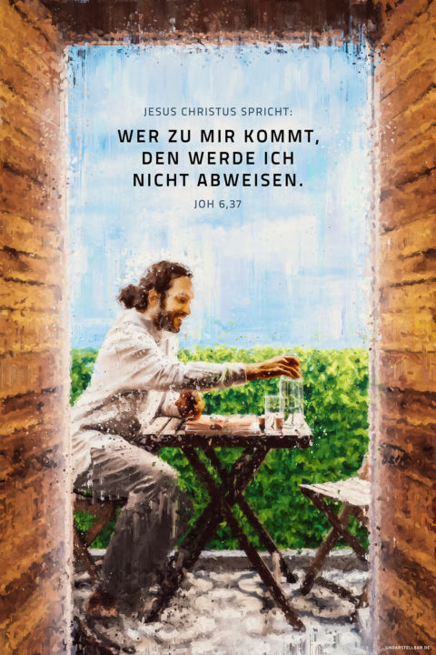 Postkarte Jahreslosung 2022 Jesus Christus spricht: Wer zu mir kommt, den werde ich nicht abweisen. Joh 6,37